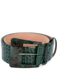 dunkelgrüner Ledergürtel von Max Mara
