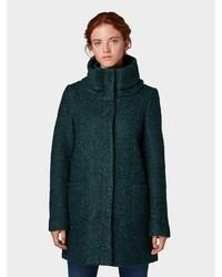dunkelgrüner Mantel aus Bouclé von Tom Tailor Denim