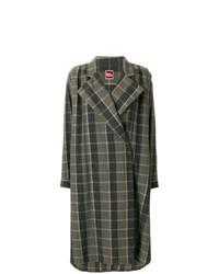 dunkelgrüner Mantel mit Karomuster von Issey Miyake Vintage