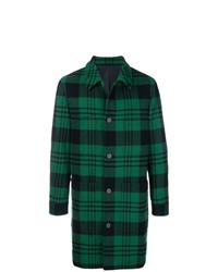 dunkelgrüner Mantel mit Schottenmuster