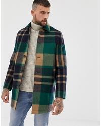 dunkelgrüner Mantel mit Schottenmuster von ASOS DESIGN
