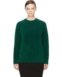 dunkelgrüner Mohair Pullover mit einem Rundhalsausschnitt von Juun.J