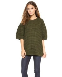dunkelgrüner Oversize Pullover