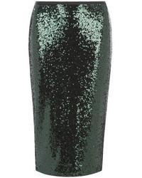 dunkelgrüner Paillette Bleistiftrock