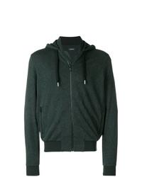 dunkelgrüner Pullover mit einem Kapuze von Z Zegna