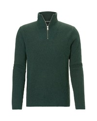 dunkelgrüner Pullover mit einem Reißverschluss am Kragen von Marc O'Polo