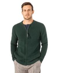 dunkelgrüner Pullover mit einem Reißverschluß von Stitch & Soul