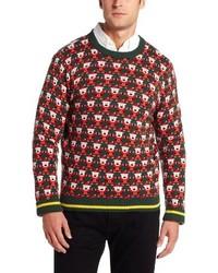 dunkelgrüner Pullover mit einem Rundhalsausschnitt mit Fair Isle-Muster