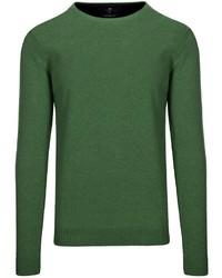 dunkelgrüner Pullover mit einem Rundhalsausschnitt von BASEFIELD