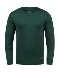 dunkelgrüner Pullover mit einem Rundhalsausschnitt von BLEND