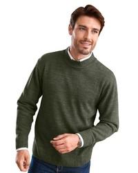 dunkelgrüner Pullover mit einem Rundhalsausschnitt von Classic