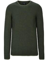 dunkelgrüner Pullover mit einem Rundhalsausschnitt von COMMANDER