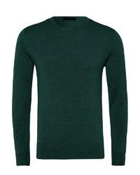 dunkelgrüner Pullover mit einem Rundhalsausschnitt von Falke