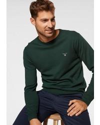 dunkelgrüner Pullover mit einem Rundhalsausschnitt von Gant
