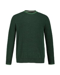 dunkelgrüner Pullover mit einem Rundhalsausschnitt von JP1880