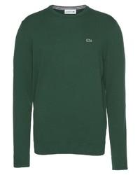 dunkelgrüner Pullover mit einem Rundhalsausschnitt von Lacoste
