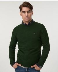 dunkelgrüner Pullover mit einem Rundhalsausschnitt von Lexington