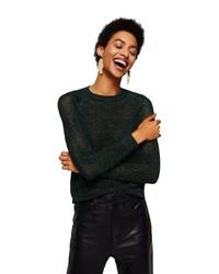 dunkelgrüner Pullover mit einem Rundhalsausschnitt von Mango