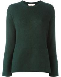 dunkelgrüner Pullover mit einem Rundhalsausschnitt von Marni