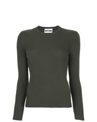 dunkelgrüner Pullover mit einem Rundhalsausschnitt von Moschino
