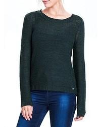 dunkelgrüner Pullover mit einem Rundhalsausschnitt von Only