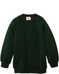 dunkelgrüner Pullover mit einem Rundhalsausschnitt