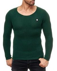 dunkelgrüner Pullover mit einem Rundhalsausschnitt von Redbridge