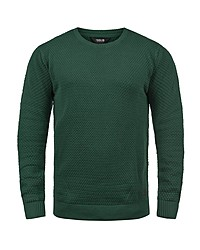 dunkelgrüner Pullover mit einem Rundhalsausschnitt von Solid