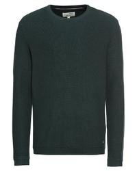 dunkelgrüner Pullover mit einem Rundhalsausschnitt von Tom Tailor Denim