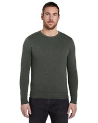 dunkelgrüner Pullover mit einem Rundhalsausschnitt von Tom Tailor