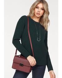 dunkelgrüner Pullover mit einem Rundhalsausschnitt von Vero Moda