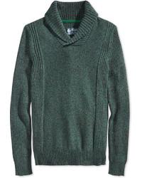 dunkelgrüner Pullover mit einem Schalkragen