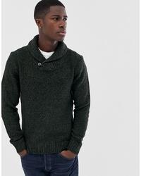 dunkelgrüner Pullover mit einem Schalkragen von Pier One
