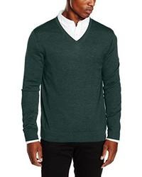 dunkelgrüner Pullover mit einem V-Ausschnitt von Calvin Klein