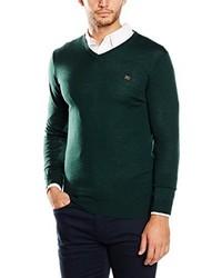 dunkelgrüner Pullover mit einem V-Ausschnitt von Cortefiel