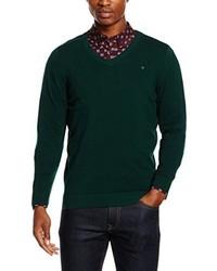 dunkelgrüner Pullover mit einem V-Ausschnitt von Diesel