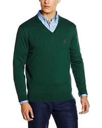 dunkelgrüner Pullover mit einem V-Ausschnitt von El Ganso