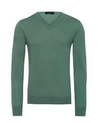 dunkelgrüner Pullover mit einem V-Ausschnitt von Falke