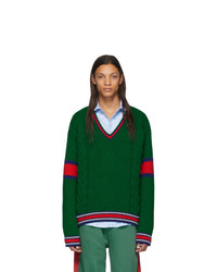 dunkelgrüner Pullover mit einem V-Ausschnitt von Gucci