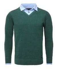 dunkelgrüner Pullover mit einem V-Ausschnitt von Key Largo