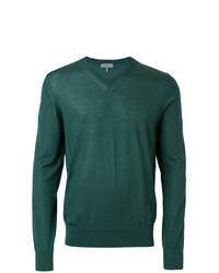 dunkelgrüner Pullover mit einem V-Ausschnitt von Lanvin