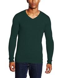 dunkelgrüner Pullover mit einem V-Ausschnitt von Lee