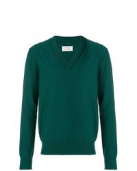 dunkelgrüner Pullover mit einem V-Ausschnitt von Maison Margiela