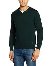 dunkelgrüner Pullover mit einem V-Ausschnitt von Scalpers