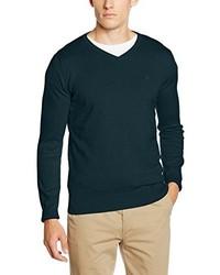 dunkelgrüner Pullover mit einem V-Ausschnitt von Tom Tailor