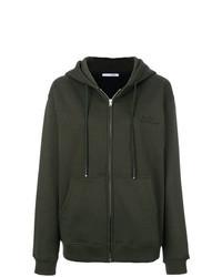 dunkelgrüner Pullover mit einer Kapuze