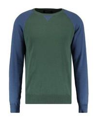 dunkelgrüner Pullover mit einem Rundhalsausschnitt von INDICODE JEANS