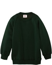 Dunkelgrüner Pullover mit Rundhalsausschnitt