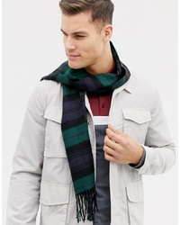 dunkelgrüner Schal mit Karomuster von Burton Menswear