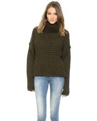 dunkelgrüner Strick Oversize Pullover von Acne Studios